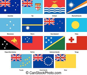 Set of all flags of the countries of Oceania