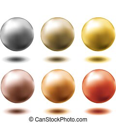 set of all metal balls - gold silver brass copper platinum