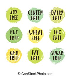 Set of allergen free badges. Can be used for packaging design. Vector illustration