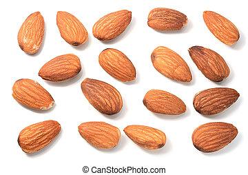 Set of Almonds on white
