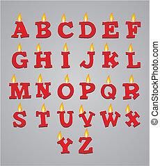 set of alphabet candle decorations