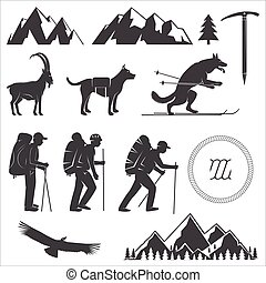 Set of Alpine club icon. Vector illustration. Concept for...