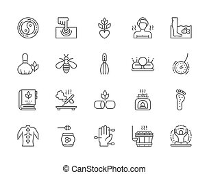 Set of Alternative Medicine Line Icons. Bathhouse, Herbal Medicine, Fish Spa Pedicure, Thai Massage, Bee Venom Therapy, Acupuncture, Aromatherapy, Meditation, Yoga and more. Pack of 48x48 Pixel Icons