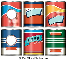 Set of aluminium cans with label design on white background illustration