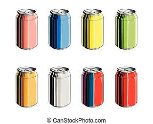 Set of aluminum can in color, isolated on white background. Detailed vintage style drawing, for posters, decoration and print. Hand drawn sketch. Vector illustration