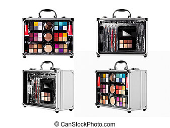 set of aluminum cases with cosmetics on a white background