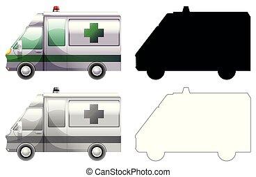 Set of ambulance car