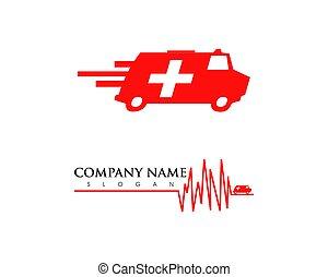 Set of Ambulance van vehicle speeding simple business icon logo