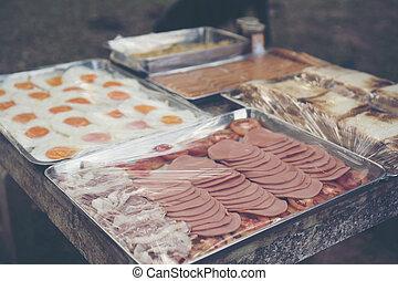 set of American Breakfast