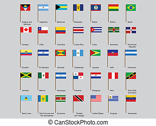 set of American countries flags
