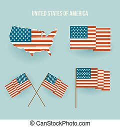 Set of american flag and map. Flat