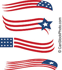 Set of American flags illustration vector