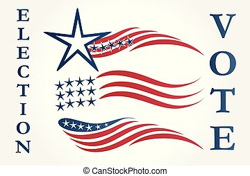Set of American flags illustration logo vector
