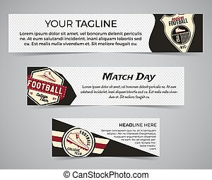 Set of American football banner template with soccer logo, label and badge. Stylish bright identity design. Best for sport magazines on web or print. Usa sports elements, scorer, typography. Vector