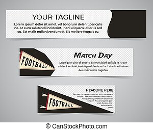 Set of American football banner template with soccer logo, label and badge. Stylish bright identity design. Best for sport magazines on web or print. Usa sports elements, pennant, typography. Vector