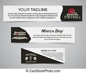 Set of American football banner template with soccer logo, label and badge. Stylish bright identity design. Best for sport magazines on web or print. Usa sports elements, helmet, typography. Vector