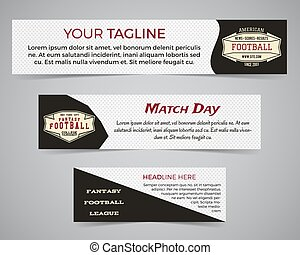 Set of American football banner template with soccer logo, label and badge. Stylish bright identity design. Best for sport magazines on web or print. Usa sports elements, sign, typography. Vector