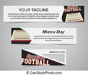 Set of American football banner template with soccer logo, label and badge. Stylish bright identity design. Best for sport magazines on web or print. Usa sports elements, fields, typography. Vector