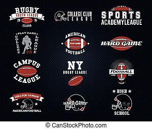 Set of American football, college labels, logos, badges, insignias, icons in vintage style. Graphic design for t-shirt, web. Color emblems isolated on a dark dotted halftone background. Vector