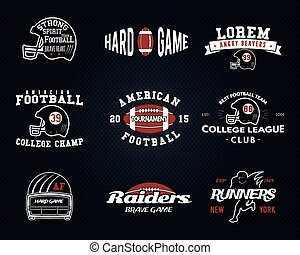 Set of American football, college league labels, logos, badges, insignias, icons in vintage style. Graphic design for t-shirt, web. Color emblems isolated on a dark dotted halftone background. Vector
