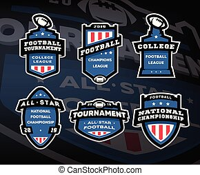 Set of American football logos, emblems, labels on a dark background.