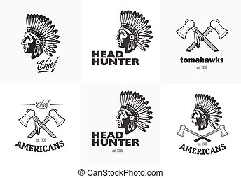 Set of american indian emblems, labels, badges, logos