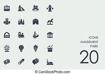Set of amusement park icons