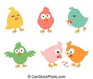 Set of amusing Easter chickens on white background, illustration