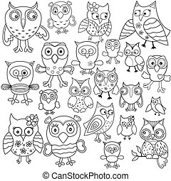Set of amusing owl outlines - Set of twenty one amusing owl...