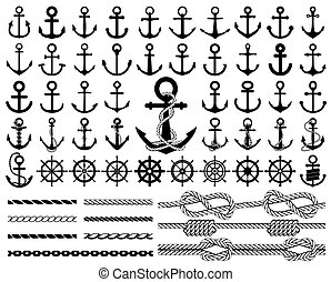 Set of anchors, rudders and ropes