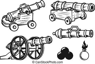 Set of ancient cannons illustrations. Design elements for logo,