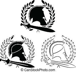 set of ancient helmets with swords