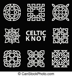 Set of ancient symbols executed in Celtic knot