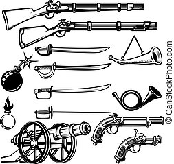 Set of ancient weapon. Muskets, saber, cannons, bombs. Design el
