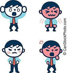 Set of angry businessman