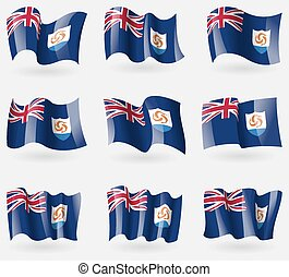 Set of Anguilla flags in the air. Vector
