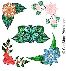 Set of angular design elements doodle flowers and leaves. Vector elements for invitations, greeting cards, and your design ideas