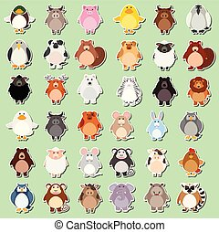 Set of animal cartoon sticker
