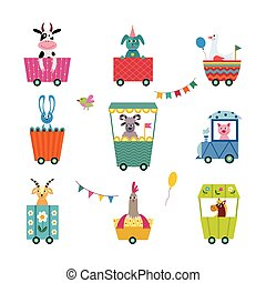 Set of animal characters in children railway flat vector illustration isolated.