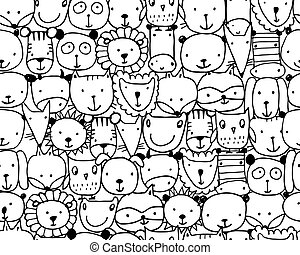 Set of animal faces, sketch for your design