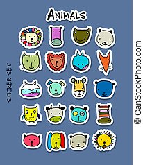Set of animal faces, sticker set for your design
