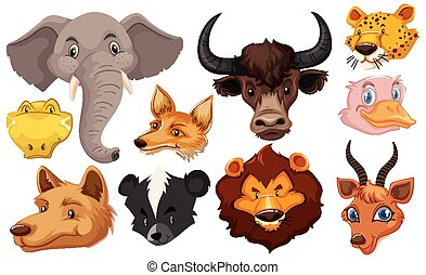 Set of animal head cartoon