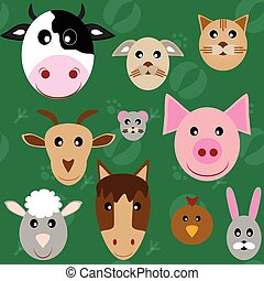 Set of animal heads: cow, goat, chicken, cat, dog, mouse, sheep, rabbit, pig, horse. Flat Style.