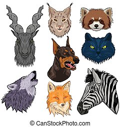 Set of animal heads isolated on a white background. Vector graphics.