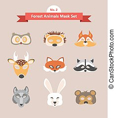 set of animal masks . set 2. forest animals