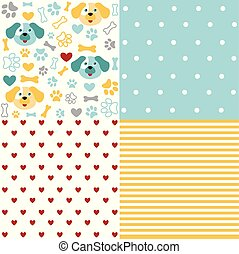Set of animal seamless patterns with dog