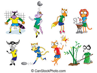 Set of animal vector cartoon