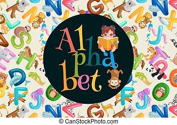 set of animals alphabet for kids letters, cartoon fun abc ...