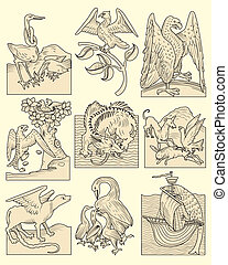 Set of animals and medieval scenes, real and mythological, vector illustration