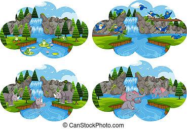 Set of animals at river scene
